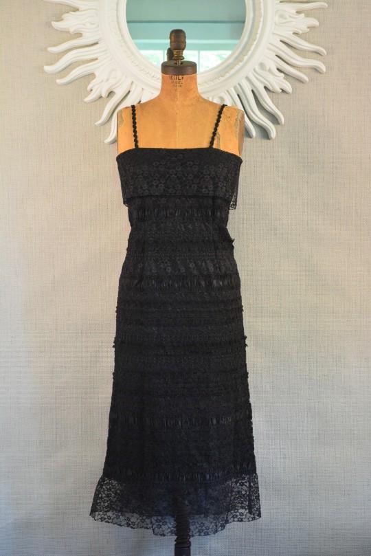 1970s black boho vintage dress