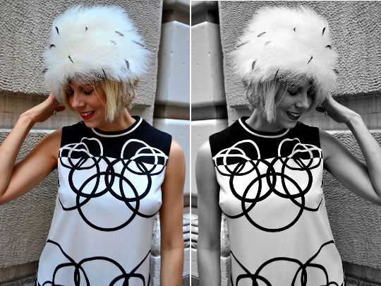 mr dino vintage dress split screen
