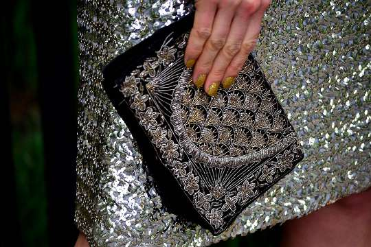 1940s silver and gold threaded clutch from India