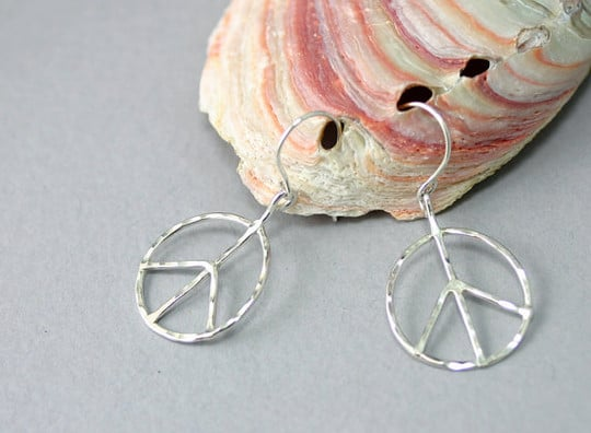 peace earrings from etsy