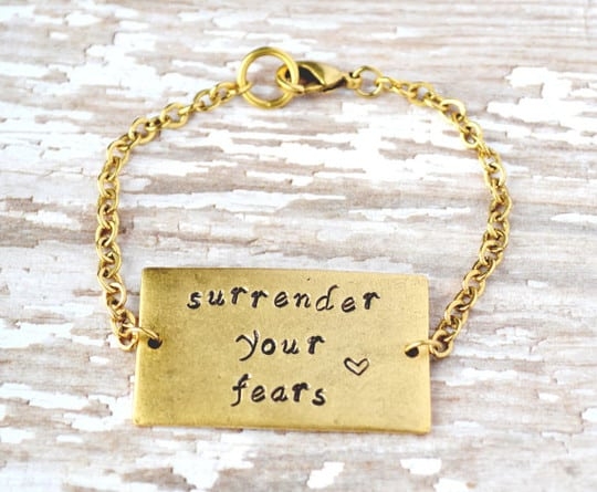 surrender your fears bracelet from etsy