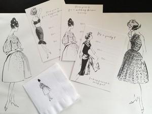 vintage fashion illustrators from white cabinet