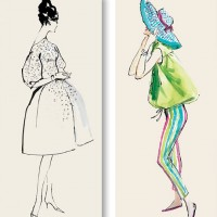 vintage fashion illustrators from white cabinet