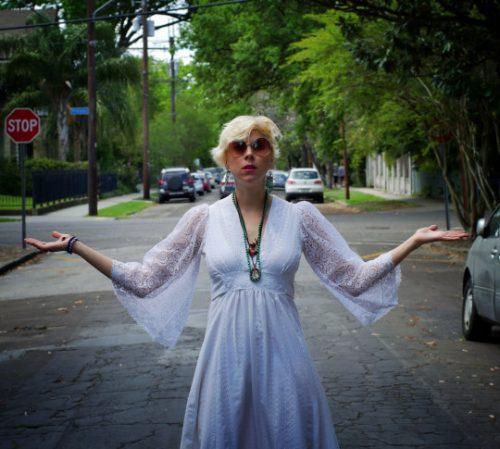 1970s white goddess vintage dress
