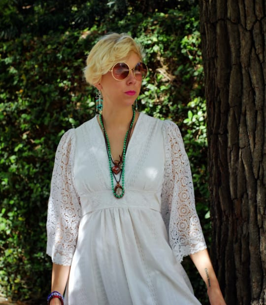 1970s white goddess dress