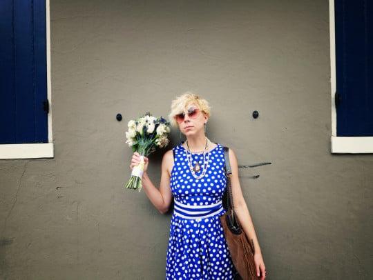 sammy davis wears a 1980s polka dot romper from talbots