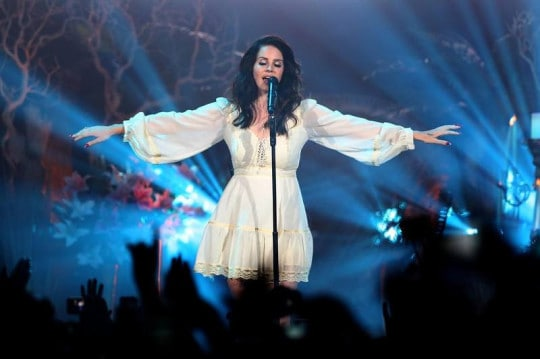 lana del rey wears a vintage gunne sax dress from the'70s