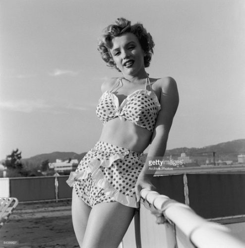 marilyn monroe wearing a polka dot vintage biknini