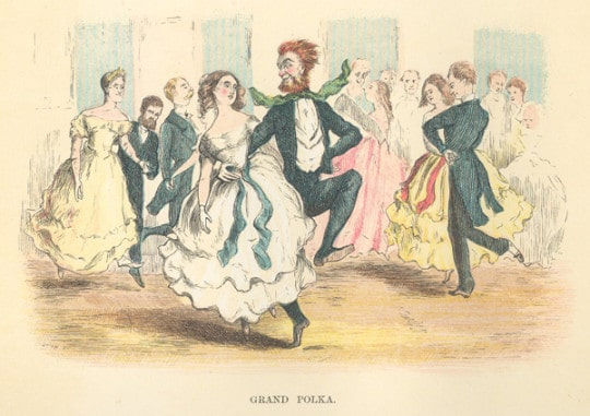 vintage polka dancers doing the grand polka