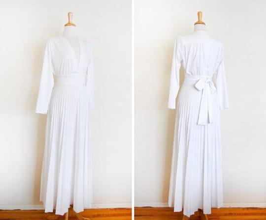 a 1970s vintage white bohemian dress