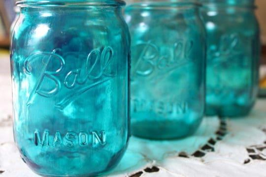 blue mason jars vintage