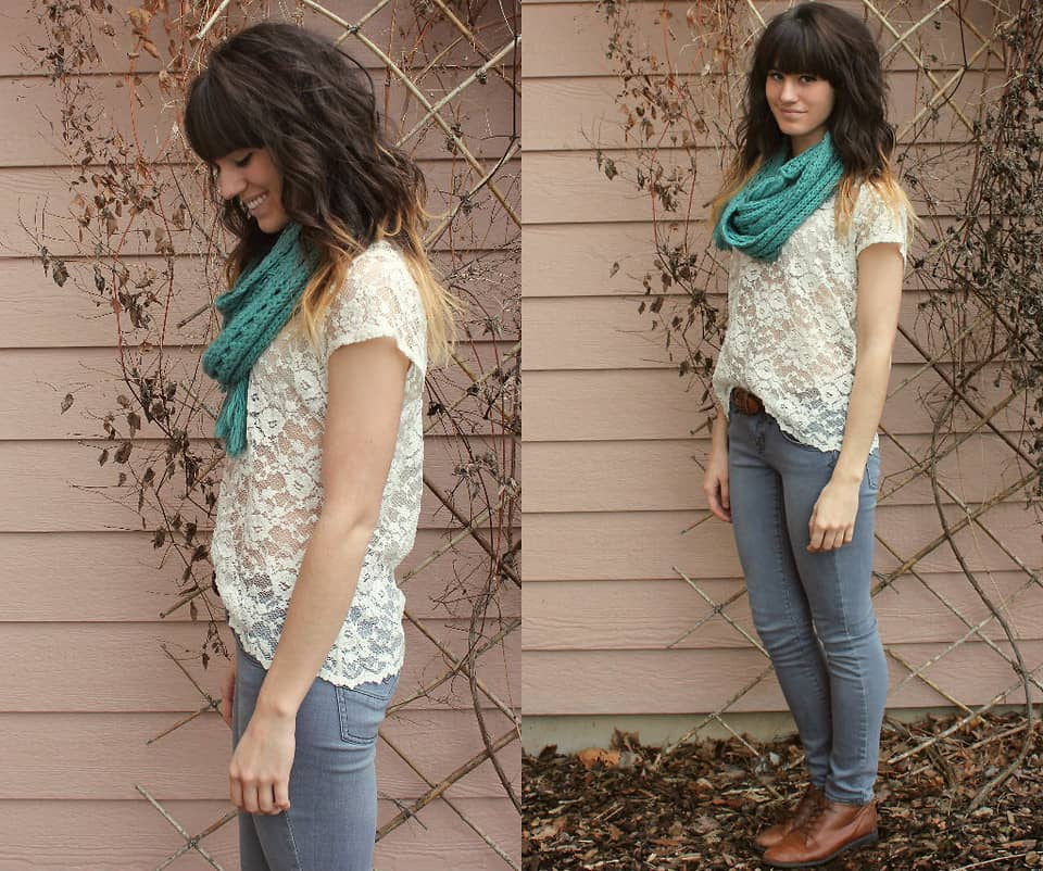 vintage lace and jeans