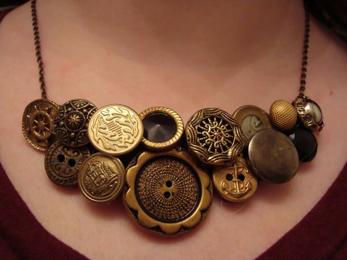 Create This DIY Vintage Button Statement Necklace