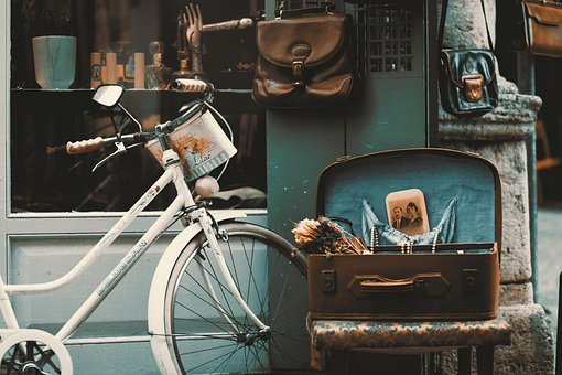 Bicicleta, Vintage, Calle, Tienda, Retro