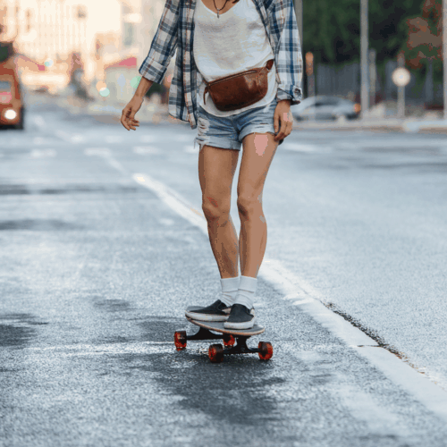 Skater with fanny pack